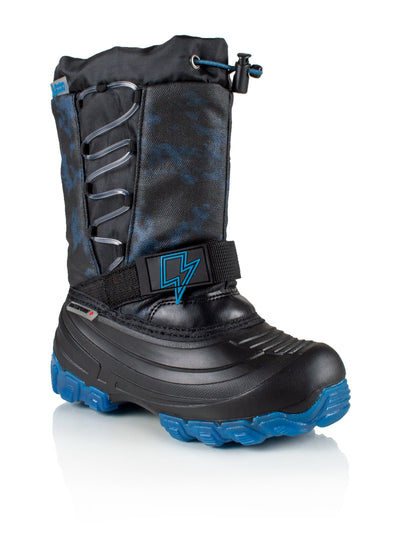 Thunder blue kids winter boot with lights