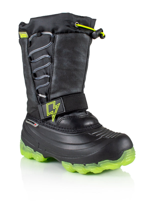 Thunder lime kids winter boot with lights