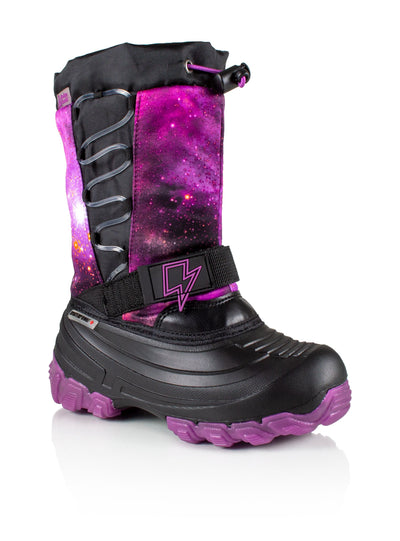 Thunder purple kids winter boot with lights