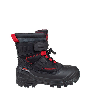 black warm kid's winter boots with bungee lacing