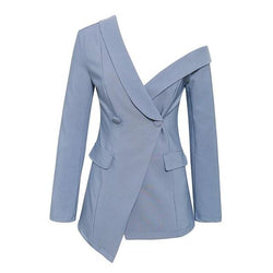 PAUSE ONE SHOULDER TEAL BLAZER