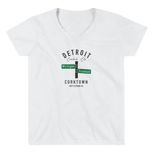 Corktown - Michigan & Trumbull - Women's V-Neck