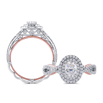 doveggs lab created CVD 0.5 carat diamond engagement ring in white/rose gold