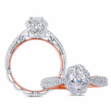 doveggs lab created CVD 0.5 carat oval diamond engagement ring in white/rose gold