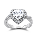 DovEggs sterling silver 1.5 carat halo heart moissanite ring curved moissanite band