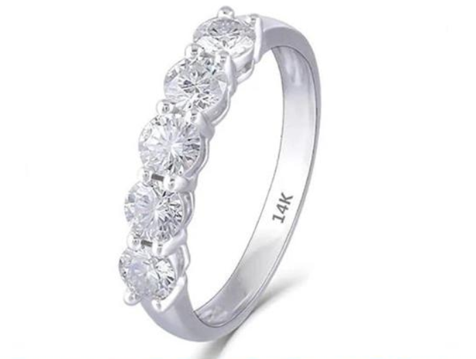 Doveggs five stone moissanite wedding band/moissanite ring/lab diamond band