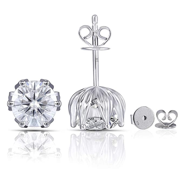 doveggs moissanite 2 carat g-h-i color round moissanite platinum plated silver stud earring