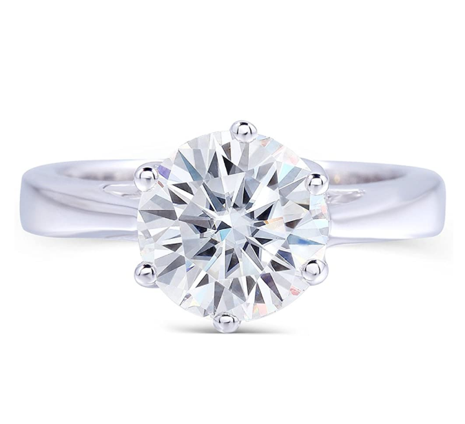 doveggs platinum plated silver 2 carat g-h-i color round moissanite ring