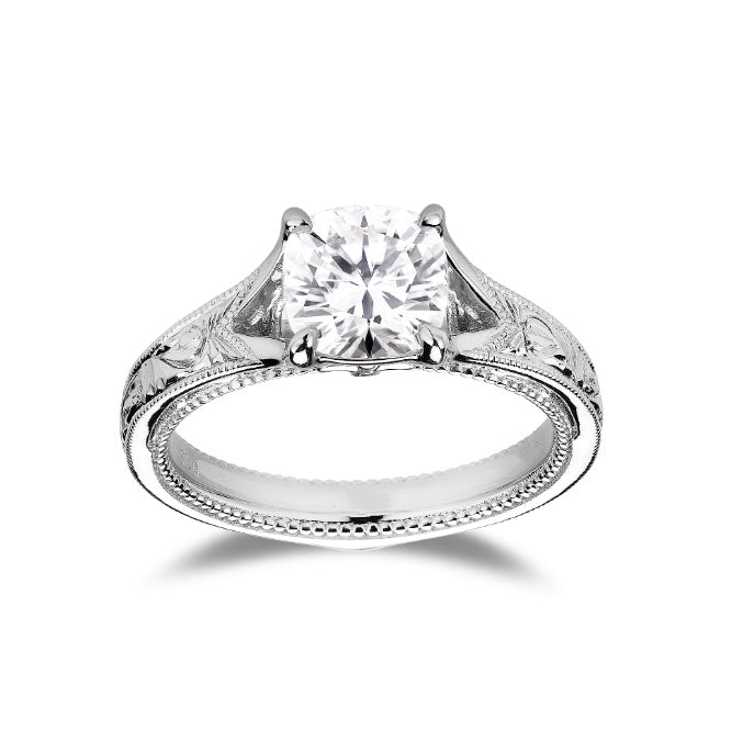 DovEggs hard engraved cushion moissanite ring/lab diamond engagement ring