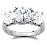 doveggs cushion three-stone sterling silver moissanite engagement ring
