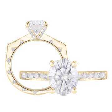 doveggs oval channel set vintage moissanite ring/lab diamond engagement ring