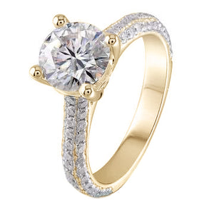 doveggs round half eternity paved moissanite ring/lab diamond engagement ring