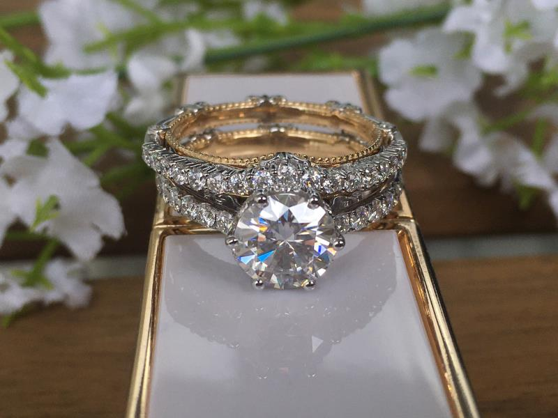 Doveggs Curved vintage moissanite wedding rings sets/lab diamond band
