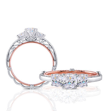 doveggs lab created CVD 1.1 carat round diamond engagement ring in white/rose gold