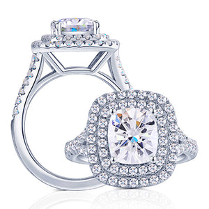 doveggs sterling silver 1ct 6x6mm moissanite halo engagement rings for women