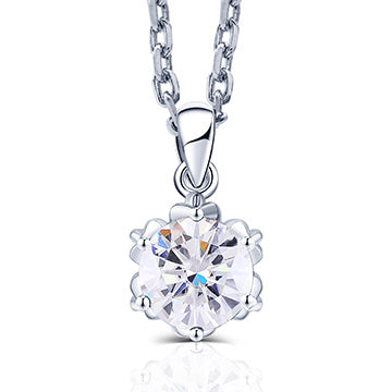 "doveggs round moissanite/lab grown diamond pendant necklace with 18"" chain"