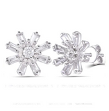 doveggs flower shape 0.2 carat  round moissanite sterling silver stud earrings