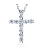 doveggs moissanite  platinum plated silver 1.1 carat round moissanite cross pendant necklace
