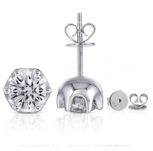 doveggs moissanite 2 carat round moissanite sterling silver stud earrings