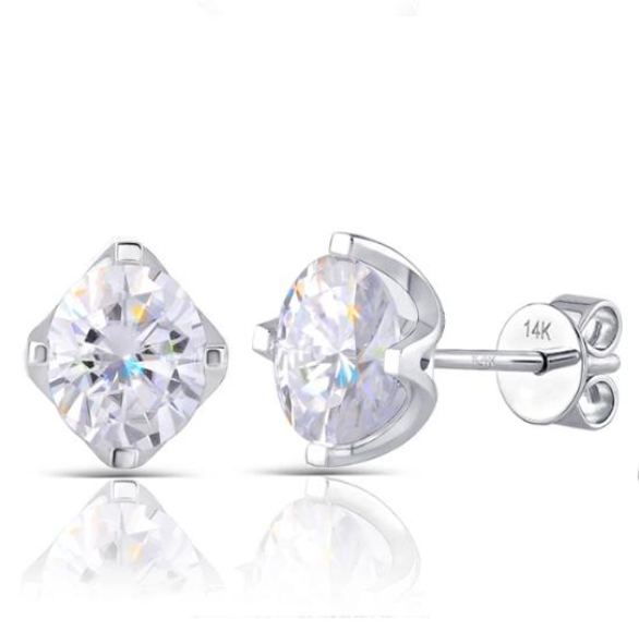doveggs moissanite 14k white gold 2 carat GHI/DEF color oval moissanite stud earrings