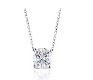 doveggs 14k white gold 2 carat oval moissanite pendant necklace