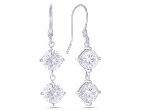 doveggs moissanite 14k white gold 4.4 carat GHI Color cushion cut moissanite dangle earrings