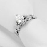 doveggs sterling silver 1.5 carat pear vintage moissanite ring