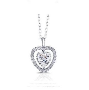 doveggs sterling silver 1 carat moissanite heart shape pendant necklace