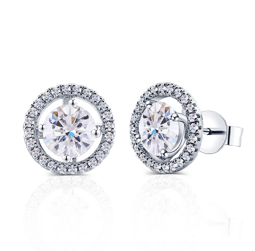 doveggs moissanite 2 carat round ghi color moissanite platinum plated silver stud earrings