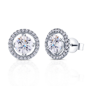 doveggs moissanite 2 carat round gh color moissanite sterling silver stud earrings