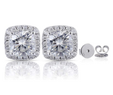 doveggs 2 carat g-h-i color cushion platinum plated silver stud moissanite earrings