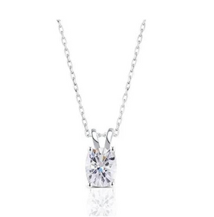 doveggs moissanite 14k white gold 2 carat ghi color cushion moissanite pendant necklace