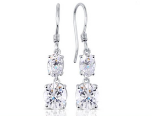 doveggs moissanite  14k white gold 3 carat def/ghi color oval cut moissanite dangle earrings