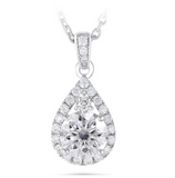 doveggs moissanite platinum plated silver 1 carat g-h-i color round moissanite pendant necklace