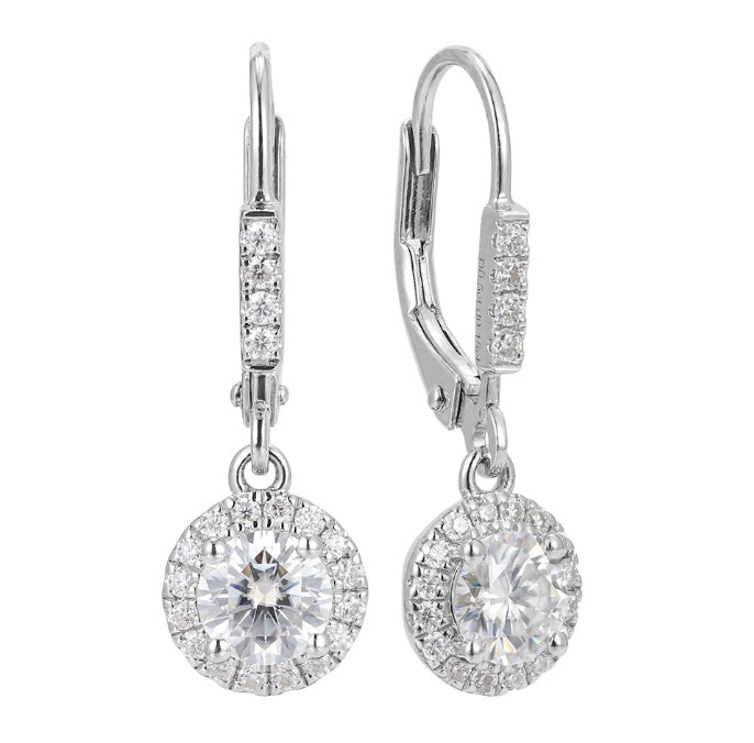 doveggs sterling silver 1 carat g-h color round moissanite hoop earring