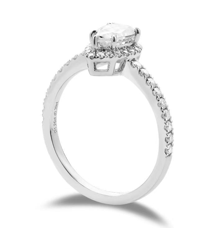 doveggs pear half eternity halo moissanite ring/lab diamond engagement ring