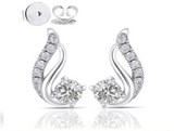 doveggs moissanite 0.6 carat g-h-i color round moissanite platinum plated silver stud earrings