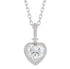 doveggs sterling silver 2 carat moissanite heart shape pendant necklace