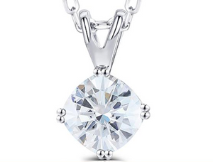 doveggs moissanite 14k white gold 2 carat g-h color cushion moissanite pendant necklace