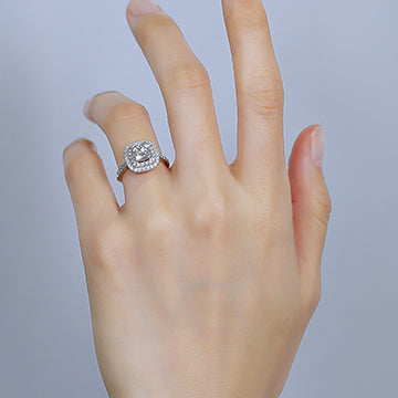 doveggs cushion halo moissanite ring/lab grown diamond engagement ring