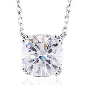 doveggs 14k white gold ghi color cushion moissanite pendant necklace