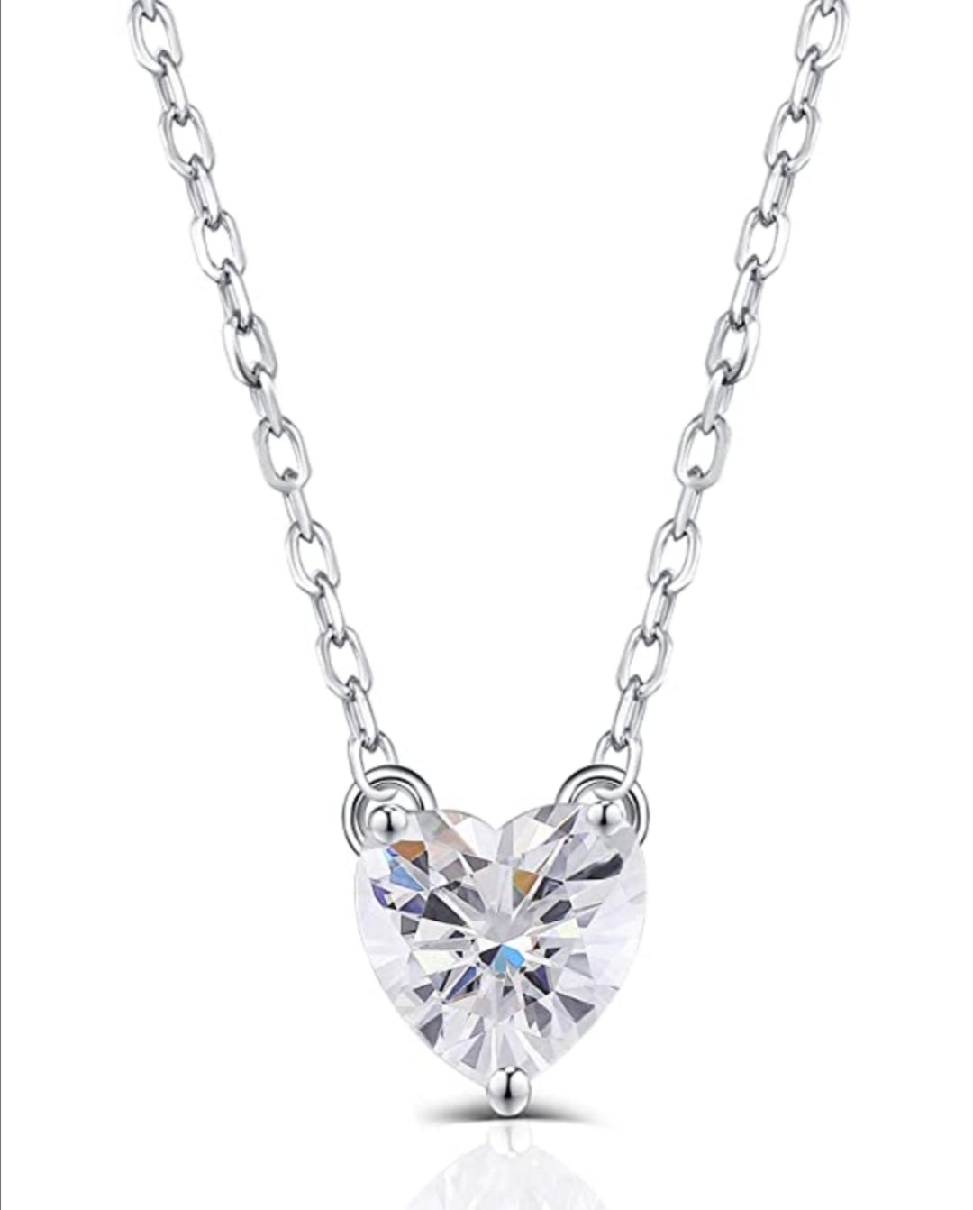 Sterling Silver 1ct 6.5mm G-H-I Color Heart Shape Cut Moissanite Pendant Necklace for Women