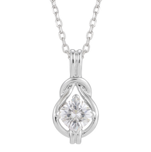 doveggs sterling silver 1.1 carat g-h color cushion moissanite pendant necklace