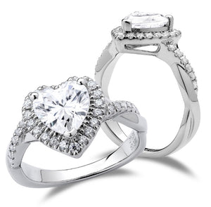 DovEggs halo heart moissanite ring curved moissanite ring/lab diamond ring