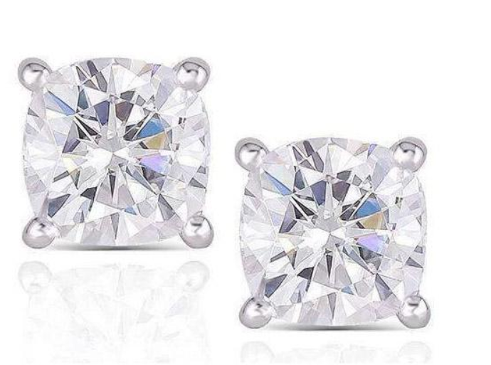 doveggs moissanite 10k white gold post 2 carat cushion moissanite platinum plated silver earring