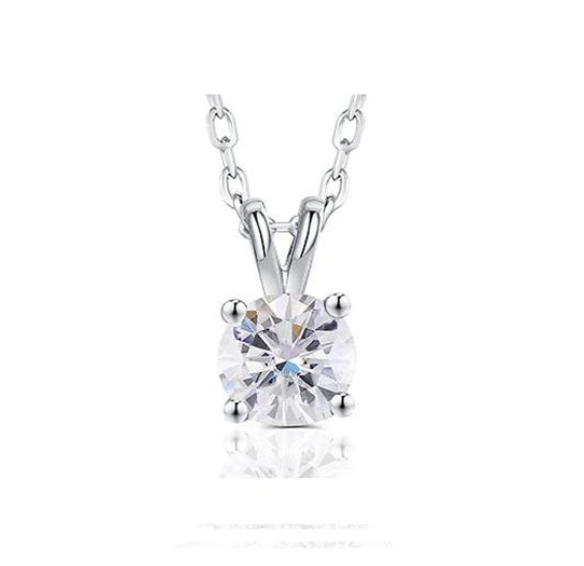 doveggs moissanite platinum plated silver 2 carat ghi color round moissanite pendant necklace