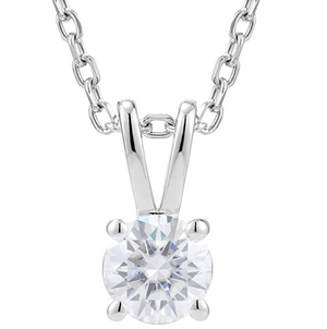 doveggs moissanite platinum plated silver 1 carat gh color round moissanite pendant necklace