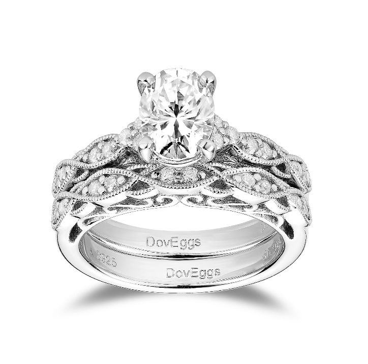 DovEggs sterling silver 1.5 carat bridal set oval moissanite ring/wedding band