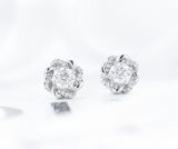doveggs 1 carat studs push back round platinum plated silver moissanite earrings