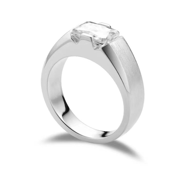 doveggs radiant solitaire moissanite engagement ring for men